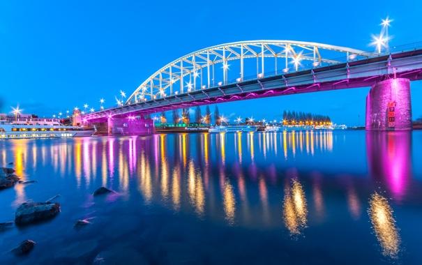 Фото обои мост, огни, река, берег, вечер, фонари, Нидерланды