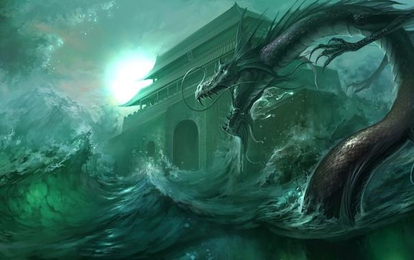 Фото обои море, волны, шторм, дракон, арт, храм, азиатский