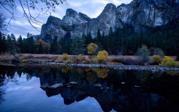 Фото обои осень, лес, деревья, горы, река, вечер, Калифорния