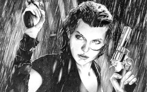 Фото обои девушка, оружие, фильм, Resident Evil, Милла Йовович, Milla Jovovich, Alice
