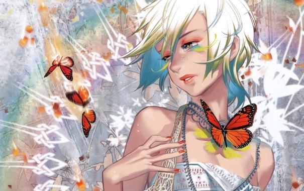 Фото обои девушка, бабочка, рука, блондинка, midori foo (artist)