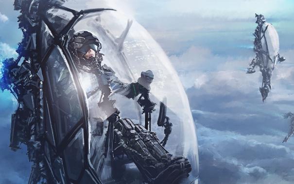 Фото обои небо, облака, корабли, арт, солдаты, десант