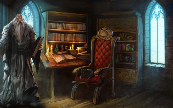 Фото обои кот, кресло, посох, старик, арт, колдун, книги