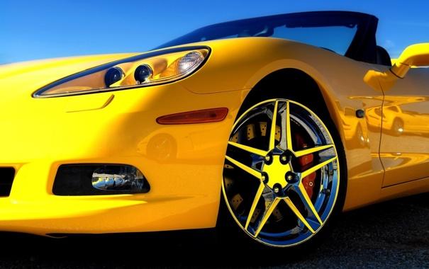 Фото обои машина, авто, кабриолет, желтая