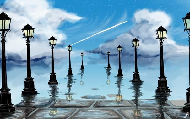 Фото обои небо, вода, облака, свет, отражение, арт, фонари