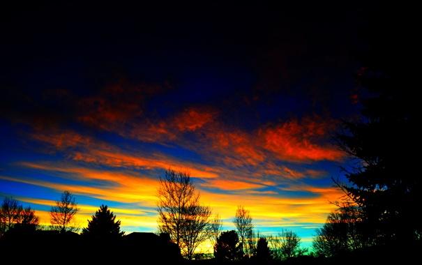 Фото обои небо, облака, деревья, тучи, дом, силуэт