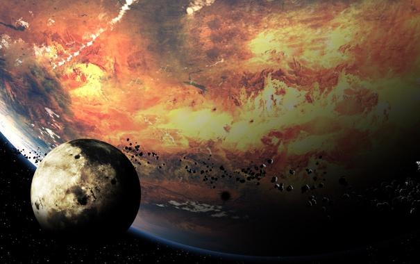 Фото обои камни, планета, спутник, метеориты