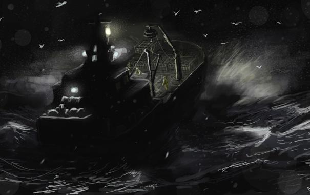 Фото обои море, волны, ночь, корабль, Deadliest Catch speedpaint
