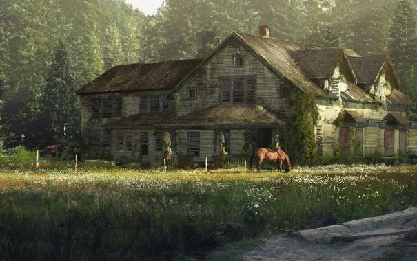 Фото обои лес, дом, лошадь, особняк, Одни из нас, The Last Of Us
