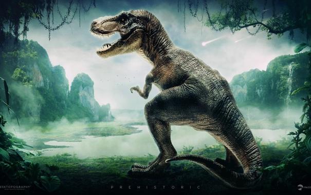 Фото обои озеро, динозавр, джунгли, desktopography, лианы