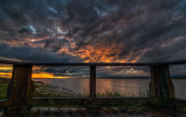 Фото обои трава, вода, облака, река, Небо