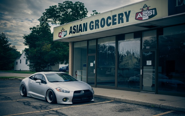 Фото обои Mitsubishi, серая, Eclipse, эклипс, мицубиси, stance