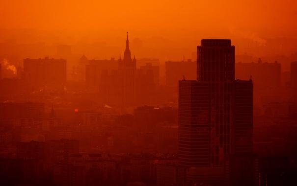 Фото обои город, обои, дома, панорама, Москва, храм, wallpaper