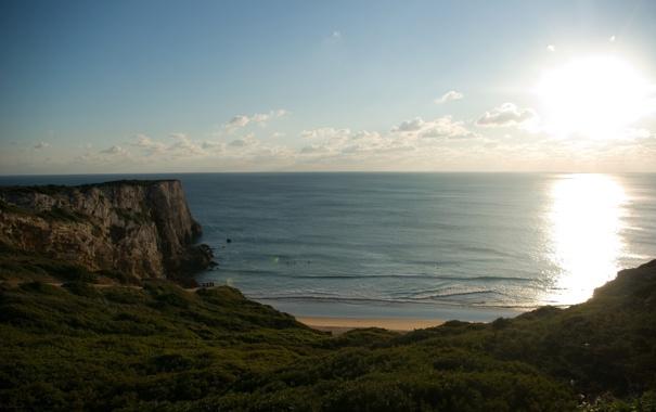 Фото обои море, волны, солнце, блики, побережье, пейзажи, вид