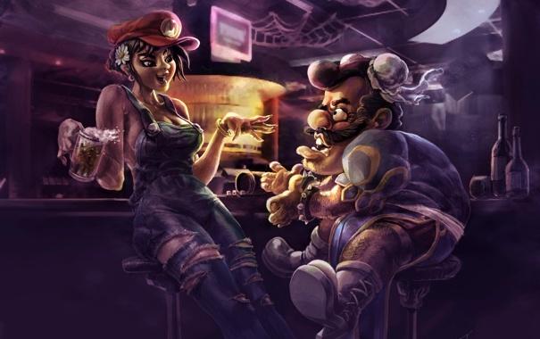 Фото обои пиво, бар, стойка, street fighter, барная, Chun Li, Super Mario