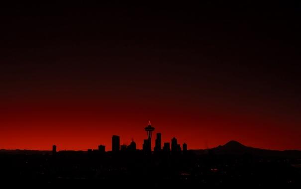 Фото обои здания, red, Сиэтл, sunset, buildings, Seattle
