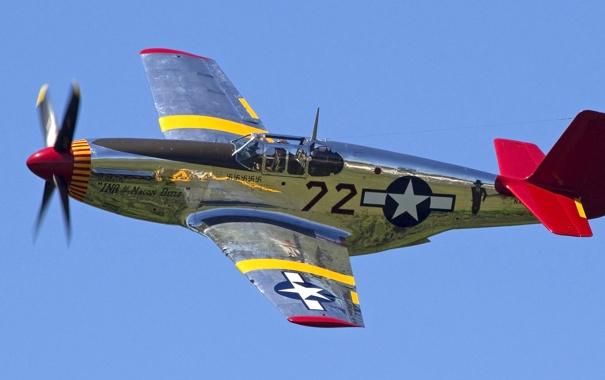 Фото обои небо, полет, ретро, самолет, истребитель, пилот, P-51 Mustang