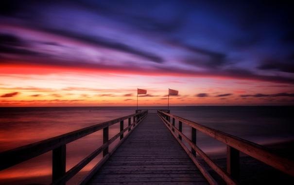 Фото обои море, пейзаж, закат, мост, Schleswig-Holstein, Heiligenhafen