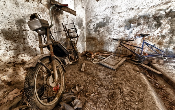 Фото обои велосипед, мотоцикл, лом