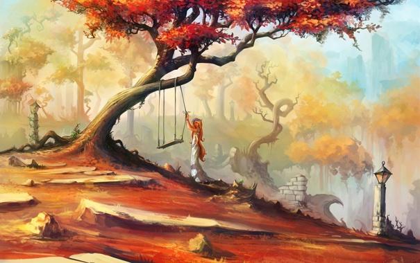 Фото обои девушка, деревья, качели, арт, фонари, нарисованный пейзаж