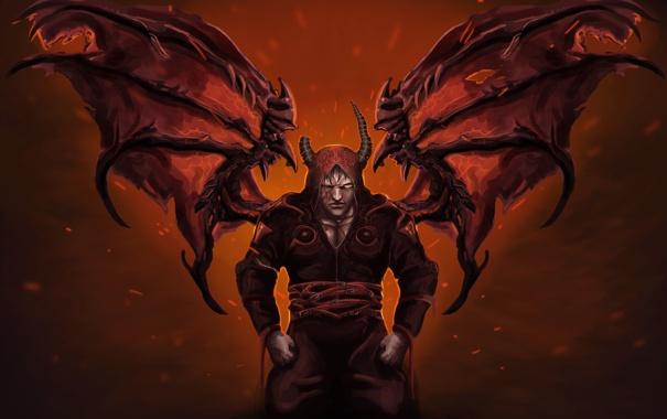 Фото обои demon, крылья, рога, hellspawn, darkness