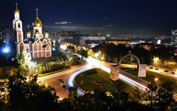 Фото обои Ночь, Храм, Шоссе, Одинцово