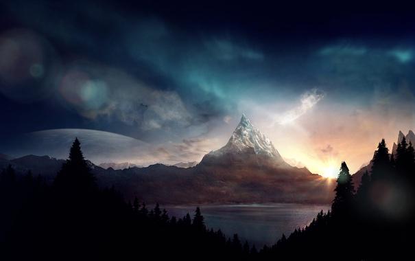Фото обои лес, горы, озеро, firstsunshine