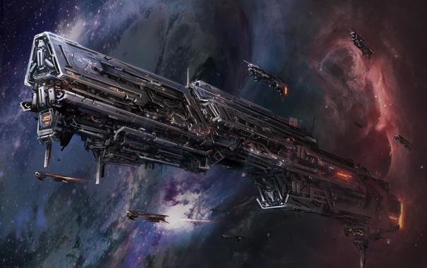 Фото обои космос, корабль, арт, самолёты