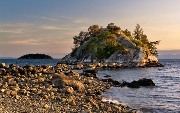 Фото обои небо, облака, деревья, скала, озеро, камни, Canada