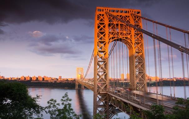 Фото обои мост, река, здания, дома