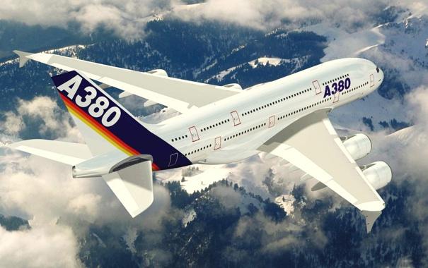 Фото обои небо, облака, полет, аэробус, А380