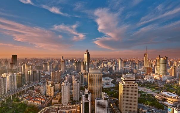 Фото обои небоскребы, утро, Китай, Шанхай