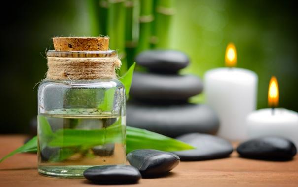 Фото обои масло, свечи, бамбук, спа, спа камни