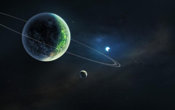 Фото обои планета, кольца, двойная, солнце, спутники