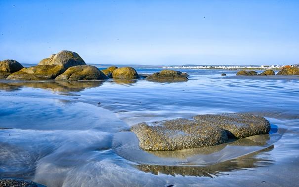 Фото обои море, волны, небо, камни