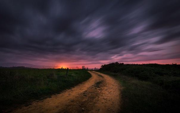Фото обои дорога, ночь, природа