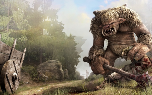 Фото обои лес, монстр, воин, повозка, труп, тролль, дубина