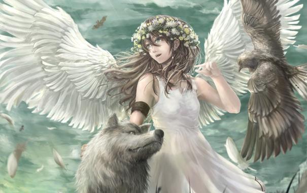 Фото обои птица, волк, крылья, ангел, аниме