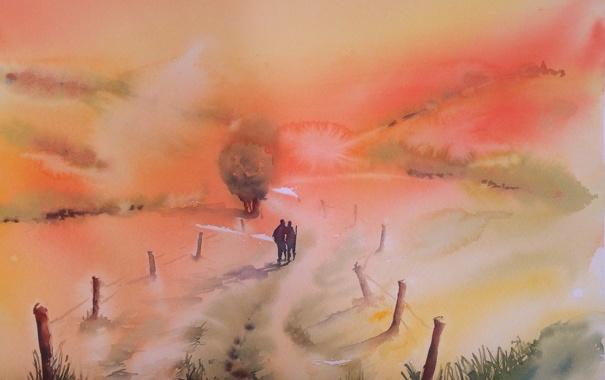 Фото обои пейзаж, картина, акварель