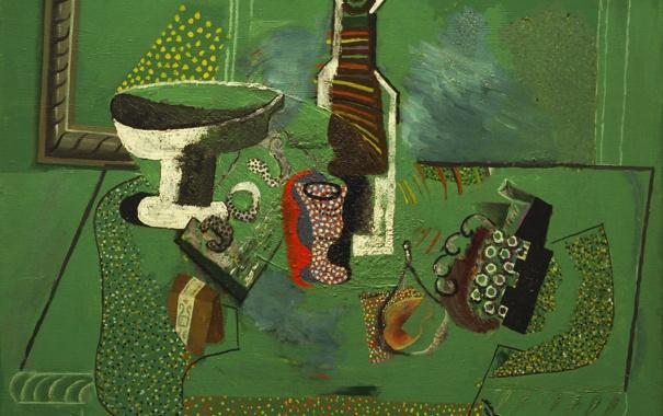 Фото обои абстракция, стол, обои, бутылка, картина, ваза, натюрморт