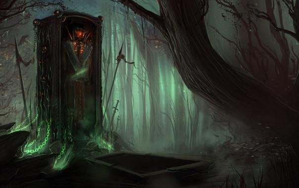 Фото обои деревья, ночь, арт, цепи, мечи