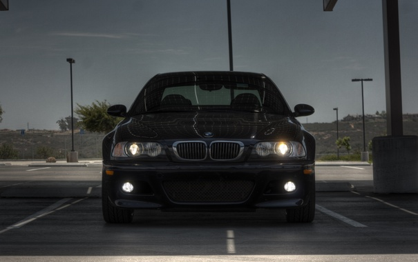 Фото обои bmw, бмв, фонари, парковка, blue, передок, свет фар