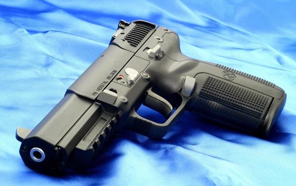Фото обои black, blue, Weapons, _FN Herstal Pistol