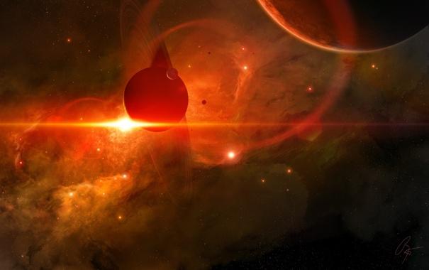 Фото обои звезды, облака, планеты, кольца, газ, спутники