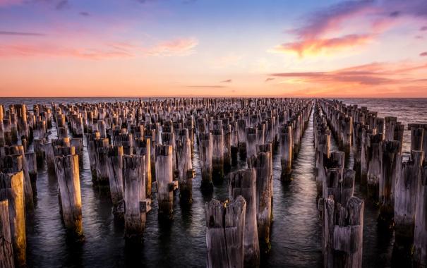 Фото обои закат, Melbourne, Princes Pier