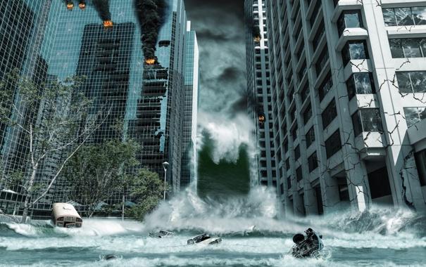 Фото обои city, город, небоскребы, Апокалипсис, storm, fantastic, tsunami