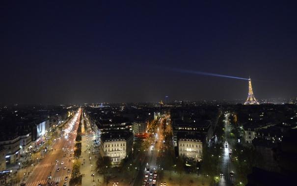 Фото обои дорога, машины, ночь, огни, Франция, Париж, луч