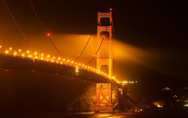 Фото обои ночь, мост, огни, золотые ворота, США, Сан Франциско, San Francisco