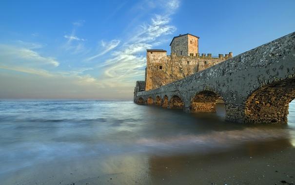 Фото обои пейзаж, мост, озеро, замок