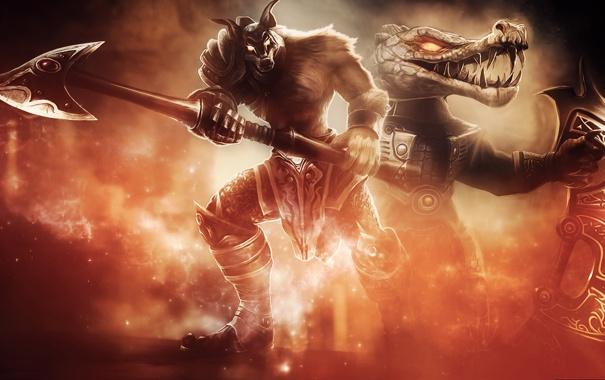 Фото обои оружие, фон, арт, League of Legends, Renekton, LOL, Nasus